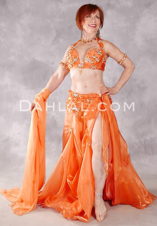 GRAND GALA Egyptian Costume by Eman Zaki - Orange and Gold