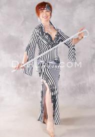 STRIPED SAIDI Egyptian Dress - Black and White
