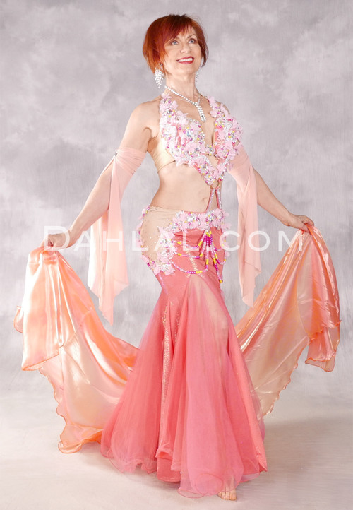 FLORAL SERENADE Egyptian Dress - Coral, Pink, Nude and Silver
