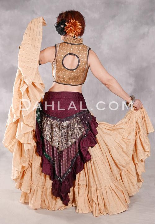 25 Yard Tiered Cotton Checker Printed Skirt - Butterscotch