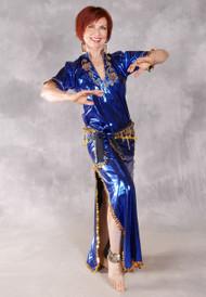 Fifi Abdo Galabeya Dress - Royal Blue and Gold