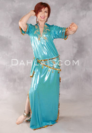 Fifi Abdo Galabeya Dress - Teal with Gold