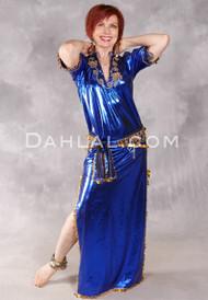 Fifi Abdo Galabeya Dress - Royal Blue with Gold