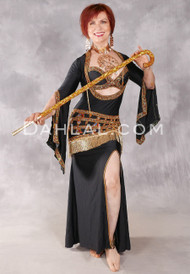 GOLDEN LOTUS CHARMER Egyptian Dress - Black, Gold and Multi-color