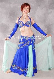 FLORAL DESTINY Egyptian Costume - Royal Blue, Mint Green and Gold