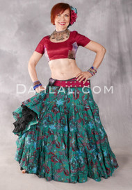 Botanical Cotton Printed 25 Yard Skirt - Emerald