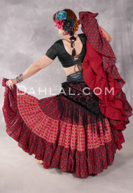 Cotton Printed 25 Yard Four Tiered Skirt - Red and Black with Orange and Fuchsia