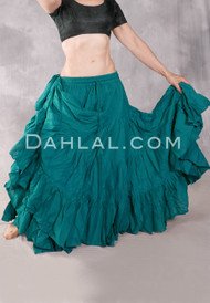 Solid Cotton 25 Yard Tiered Skirt Teal