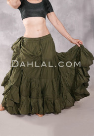 Solid Cotton 25 Yard Tiered Skirt Olive