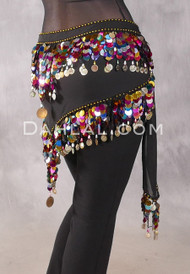 Egyptian TRIANGLE HIP SCARF with Paillettes and Coins - Black and Multi-color