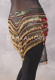 """Deep """"V"""" Beaded Loop Egyptian Hip Scarf - Stripe with Red, Black and Gold"""