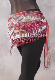 Egyptian Deep V Beaded Hip Wrap with Teardrop Beads - Floral with Red Iris and Silver