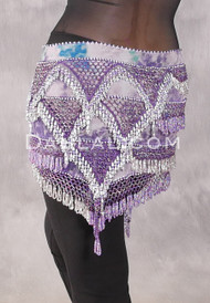 Egyptian Deep V Beaded Hip Wrap with Teardrop Beads - Graphic Print with Lavender Iris and Silver