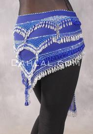 Egyptian Deep V Beaded Hip Wrap with Teardrop Beads - Royal Blue with Silver