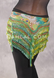 """Deep """"V"""" Beaded Loop Egyptian Hip Scarf - Peacock Print with Gold, Green, Lime and Copper"""