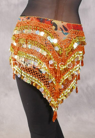 """Deep """"V"""" Beaded Paillette Egyptian Hip Scarf - Animal Print with Orange and Gold"""