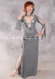 MIRRORED VISION IN STRIPES Egyptian Beledi Dress