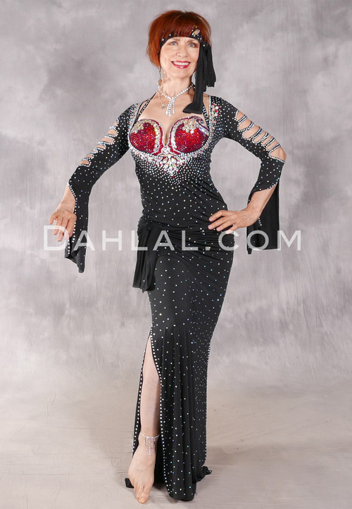 SOPHISTICATED AFFAIR Egyptian Beledi Dress - Black, Red and Silver