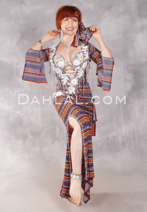 FLORAL FANTASY Egyptian Beledi Dress - Purple, Orange, White and Black