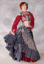 Cotton Printed 25 Yard Tribal Skirt - Black and Blue with Red and Charcoal