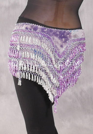 """Deep """"V"""" Beaded Loop Egyptian Hip Scarf - Graphic Print with Orchid, Lavender and Silver"""