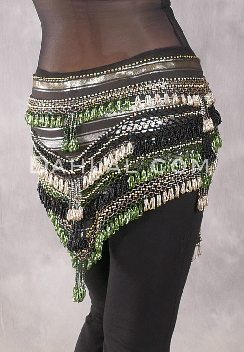 """Deep """"V"""" Beaded Loop Egyptian Hip Scarf - Stripe with Gold, Black and Green"""