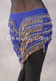 """Deep """"V"""" Beaded Loop Egyptian Hip Scarf - Solid Royal Blue with Gold"""