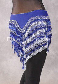 """Deep """"V"""" Beaded Loop Egyptian Hip Scarf - Solid Royal Blue with White and Silver"""