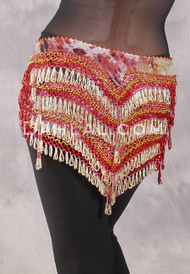 """Deep """"V"""" Beaded Loop Egyptian Hip Scarf - Graphic Print with Red and Gold"""