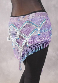 Egyptian Deep V Beaded Hip Wrap and Teardrop Beads - Floral with Orchid, Light Blue and Silver