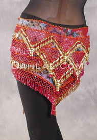 Egyptian Deep V Beaded Hip Wrap and Teardrop Beads - Floral with Red and Gold