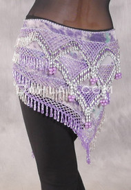 Egyptian Deep V Beaded Hip Wrap and Teardrop Beads - Graphic Print with Pearls and Orchid and Silver Beading