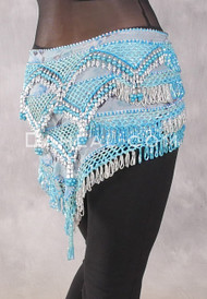 Egyptian Deep V Beaded Hip Wrap and Teardrop Beads - Floral with Pearls and Turquoise and Silver Beading