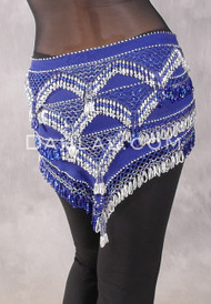 Egyptian Deep V Beaded Hip Wrap and Teardrop Beads - Solid Royal Blue with Royal Blue and Silver II