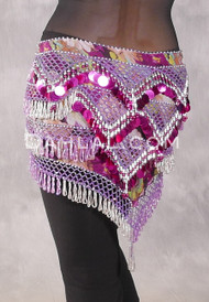 Egyptian Deep V Beaded Hip Wrap with Teardrop Beads - Floral with Orchid, Fuchsia and Silver