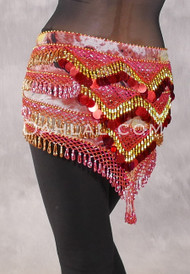 Egyptian Deep V Beaded Hip Wrap with Teardrop Beads - Graphic Print with Red, Red Iris and Gold