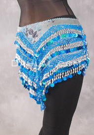 Egyptian Deep V Beaded Hip Wrap with Teardrop Beads - Floral with Turquoise Iris and Silver