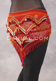 Egyptian Deep V Beaded Hip Wrap with Teardrop Beads - Ethnic Print with Red, Orange and Gold