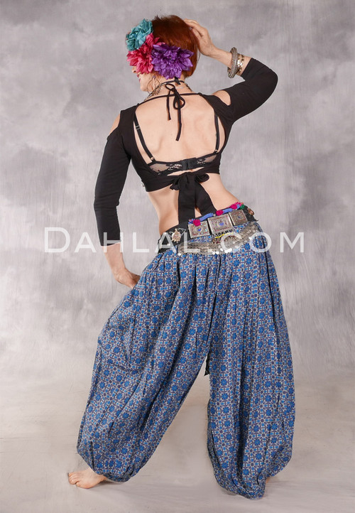 Printed Cotton Harem Pants - Medallions in Charcoal, Gray and Blue