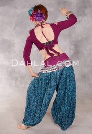 Printed Cotton Harem Pants - Medallions in Teal, Black and Fuchsia