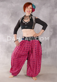 Printed Cotton Harem Pants - Medallions in Brick Red, Fuchsia and Turquoise