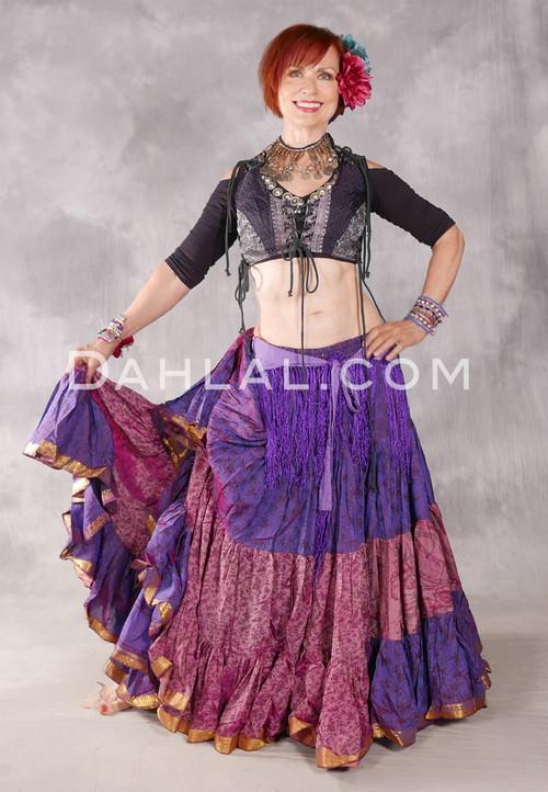 25 Yard Silk Printed Skirt - Violet and Rose Combination Skirt #40