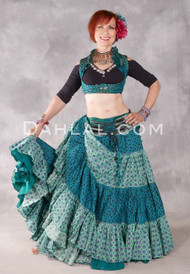 Cotton Printed 25 Yard Tribal Skirt - Turquoise and Black with Light Blue, Pink and Green (DA21-06SK-TQ-BK-LTBL-PK-GN)