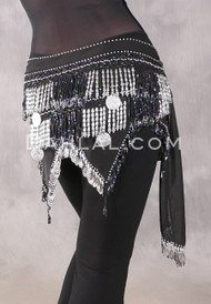 Teardrop Fringe Wave Egyptian Hip Scarf with Coins- Solid Black with Black Iris and Silver