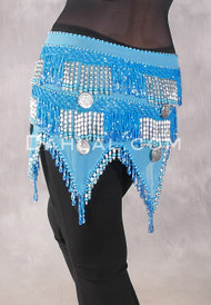 Teardrop Fringe Wave Egyptian Hip Scarf with Coins- Solid Turquoise with Blue Iris and Silver