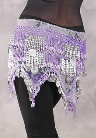 Teardrop Fringe Wave Egyptian Hip Scarf with Coins- Floral with Lavender and Silver