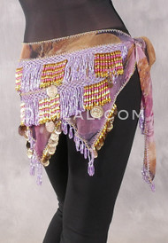 Teardrop Fringe Wave Egyptian Hip Scarf with Coins- Graphic Print with Lavender, Gold and Pink