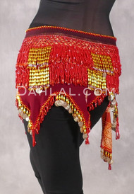 Teardrop Fringe Wave Egyptian Hip Scarf with Coins- Ethnic Print with Red and Gold