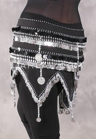 Egyptian Teardrop Wave With Coins & Paillettes Hip Scarf - Solid Black with Silver