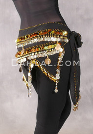 Egyptian Teardrop Wave With Coins & Paillettes Hip Scarf - Solid Black with Gold